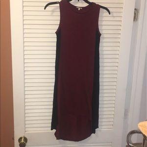 River Island Burgundy High Low Midi Dress Size 6